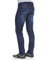 DSquared² - Blue Distressed Slim Leg Jeans for Men - Lyst