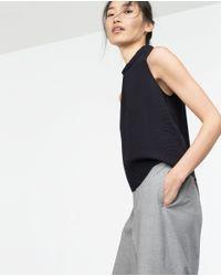 Zara | Blue Funnel Neck Top | Lyst