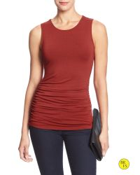 Banana Republic | Red Factory Sleeveless Ruched Top | Lyst