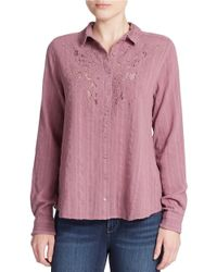 Free People | Purple Lace Detail Cotton Blouse | Lyst