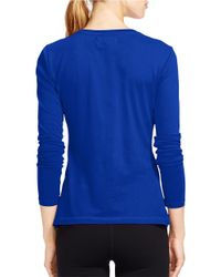 Lauren by Ralph Lauren | Blue Long-sleeved Pique Top | Lyst