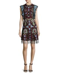 Naeem Khan - Multicolor Flutter-sleeve Embroidered Silk Cocktail Dress - Lyst