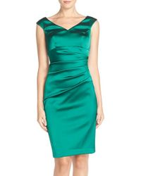 Xscape | Green Ruched Satin Sheath Dress | Lyst