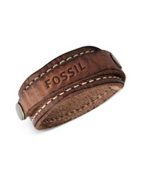 Fossil | Metallic Silvertone Brown Leather Wrap Bracelet for Men | Lyst