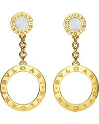 BVLGARI - White - 18ct Yellow-gold And Pearl Earrings - Lyst