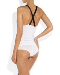Kiki de Montparnasse - White Intime Satin-Trimmed Ribbed-Jersey Pajama Shorts - Lyst