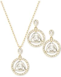 Swarovski | Metallic Gold-tone Crystal Necklace And Earrings Set | Lyst