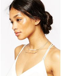 ASOS - Metallic Occasion Double Row Pearl & Bar Necklace - Lyst