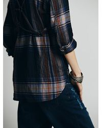 Free People - Red Plaid Explosion Buttondown - Lyst