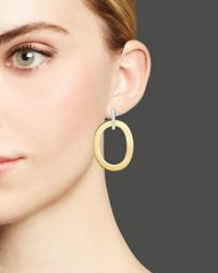 Roberto Coin - Metallic 18k Yellow And White Gold Chic & Shine Earrings With Diamonds - Lyst