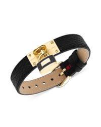 Tommy Hilfiger | Metallic Goldtone Lock Charm Black Leather Buckle Bracelet | Lyst