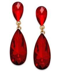 Style & Co. | Style&co. Gold-tone Red Stone Teardrop Earrings | Lyst