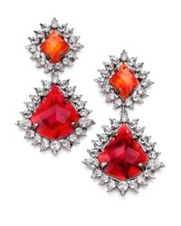 DANNIJO | Red Carrie Crystal Drop Earrings | Lyst