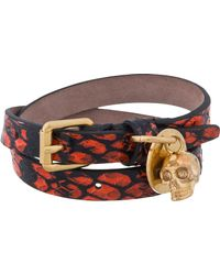 Alexander McQueen - Red Snake Leather Double Wrap Skull Charm Bracelet for Men - Lyst