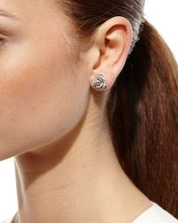 Borgioni | Metallic Pave Diamond Rose Stud Earrings | Lyst