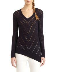 BCBGMAXAZRIA | Blue Chevron Knit Asymmetric Hem Sweater | Lyst