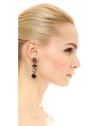Oscar de la Renta - Black Crystal Drop Earrings - Lyst