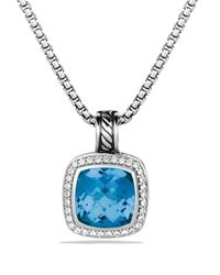 David Yurman - Metallic Albion Pendant With Blue Topaz & Diamonds - Lyst