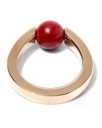 Chloé - Metallic Gold And Red Single Stone Ring - Lyst