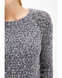 Forever 21 | Blue Contemporary Marled Open-knit Sweater | Lyst