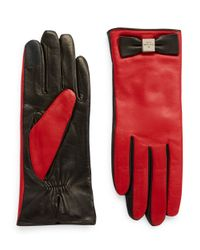 kate spade new york | Red Colorblock Leather Driving Gloves | Lyst