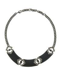 Alexis Bittar - Black Chevron-Link Bib Necklace - Lyst