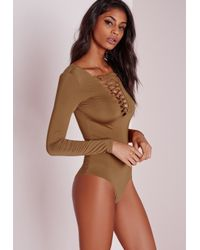 30fd800499 Lyst - Missguided Lattice Front Slinky Bodysuit Camel in Natural