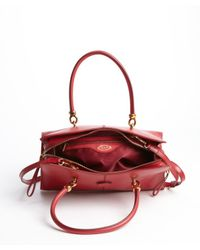 Tod's - Red Leather Sella Bag - Lyst