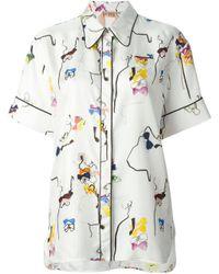 N°21 | White Bow Print Oversized Shirt | Lyst