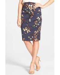 Halogen | Blue Print Pencil Skirt | Lyst