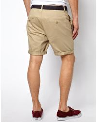 ASOS | Natural Chino Shorts In Twill With Belt for Men | Lyst