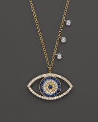 Meira T | Metallic 14K Yellow Gold Open Evil Eye Necklace, 16"