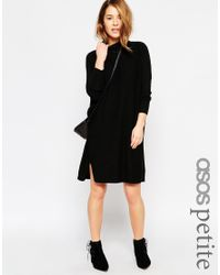 ASOS. Women's Black Tunic Dress In Knit With High Neck With A Touch Of  Cashmere