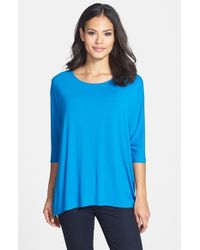 Eileen Fisher | Blue Ballet Neck Jersey Top | Lyst