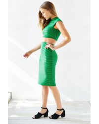 Silence + Noise - Green Revolt Striped Midi Skirt - Lyst