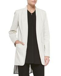 Eileen Fisher - White Long Polished Ramie Jacket - Lyst