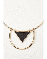 Forever 21 | Metallic Faux Leather Pendant Collar | Lyst