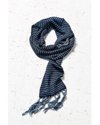 Urban Outfitters | Blue Skinny Pattern Fringe Scarf | Lyst