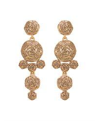 Oscar de la Renta | Metallic Golden Swirl Drop Clip-on Earrings | Lyst