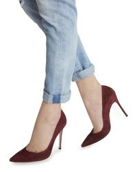Gianvito Rossi - Red Burgundy Suede Pumps - Lyst