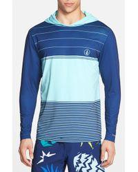 Volcom | Blue 'sub Stripe' Long Sleeve Hooded Rashguard for Men | Lyst