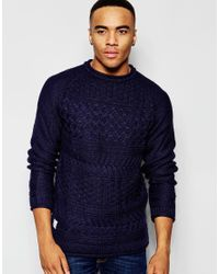 Native Youth | Blue Basket Weave Crew Neck Jumper for Men | Lyst