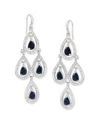 Carolee | Metallic Silver-Tone Glass Stone Pave Pear Chandelier Earrings | Lyst