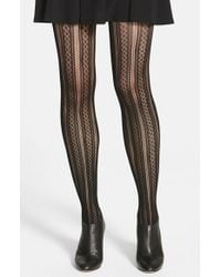 Spanx - Black 'case In Pointelle' Shaping Tights - Lyst