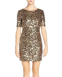 French Connection - Metallic 'leo' Leopard Sequin Sheath Dress - Lyst