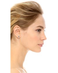 Rebecca Minkoff | Metallic Front Back Hoop Earrings - Rhodium | Lyst