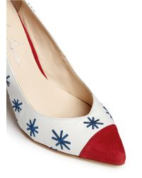 Isa Tapia - Red 'estrella' Star Embroidery Suede Trim Leather Pumps - Lyst
