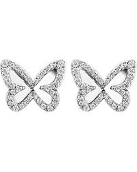 Messika | Metallic 18ct White-gold And Diamond Mirrored-back Butterfly Earrings | Lyst