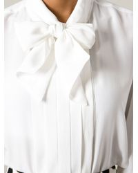 Roberto Cavalli - White Pussy Bow Blouse - Lyst