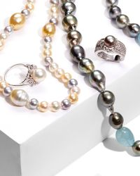Belpearl - Blue Aquamarine & Tahitian Pearl Necklace - Lyst